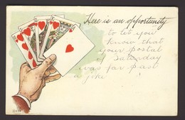 PLAYING CARD CARDS ~ Here Is An Opportunity - Hand Holding 5 Heart Cards - Playing Cards
