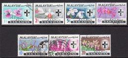 Malaysia Sarawak 1965 Orchids Definitives Set Of 7, Used, SG 212/8 - Malaysia (1964-...)