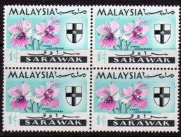 Malaysia Sarawak 1965 Orchids 1c Block Of 4, 'Caterpillar Flaw', (top Left), MNH, SG 212 - Malaysia (1964-...)
