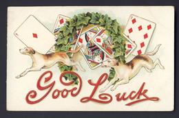 PLAYING CARD CARDS ~ Good Luck - Dogs Dog Embossed - Playing Cards
