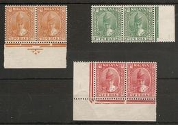 MALAYA - PERAK 1938 - 1941 UNMOUNTED MINT/LIGHTLY MOUNTED MINT MARGINAL PAIRS SG 105, 106a, 111 Cat £14.50 - Perak
