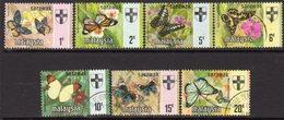 Malaysia Sarawak 1971 Butterflies Set Of 7, Litho Bradbury, Used, SG 219/25 - Malaysia (1964-...)