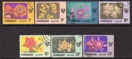 Malaysia Sarawak 1979 Flowers Set Of 7, With Watermark, Used, SG 233/9 - Malaysia (1964-...)