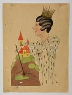 Cca 1930 Papp Jelzéssel Ellátott Karikatúra. Akvarell, Vegyes Technika. 22x30 Cm - Altre Collezioni