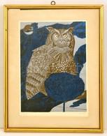 Reich Károly (1922-1988): Éjszaka. Linómetszet, Papír, Jelzett. 38x25 Cm üvegezett Keretben, - Altre Collezioni