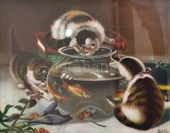 Réti Jelzéssel: Kíváncsi Cicák. Pasztell, Papír, üvegezett Keretben, 40×50 Cm - Altre Collezioni