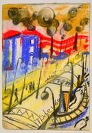 Scheiber Jelzéssel: Utca. Pasztell, Papír, Sérült, 38×27 Cm - Altre Collezioni