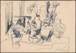 B. Séday Mária (1925-): Vázlat. Filc, Papír, Jelzett, 21×29 Cm - Altre Collezioni