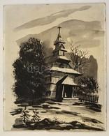 Szabó Jelzéssel: Templom. Vegyes Technika, Farost, 36×30 Cm - Altre Collezioni