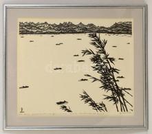 Gy. Szabó Béla (1905-1985): Kínai Tó. Fametszet, Papír, Jelzett, üvegezett Keretben, 44×52 Cm - Altre Collezioni