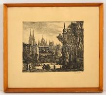 Szabó Vladimír (1905-1991): Budán. Rézkarc, Papír, Jelzett, üvegezett Keretben, 24×28 Cm - Altre Collezioni