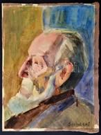 Szobotka Jelzéssel: Férfi Portré. Akvarell, Papír, 35×26 Cm - Altre Collezioni