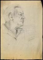 Szőnyi Jelzéssel: Férfi Portré. Ceruza, Papír, Szakadással,  60×43 Cm - Altre Collezioni