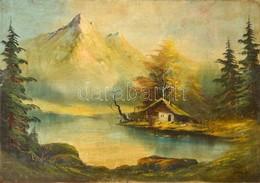 Telepy Jelzéssel: Ház A Tónál. Olaj, Farost, Foltos,  45×63 Cm - Altre Collezioni