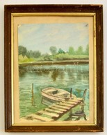 Vadász Jelzéssel: Kikötött Csónak. Akvarell, Papír, üvegezett Keretben, 32×24 Cm - Altre Collezioni