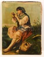 Valentiny Jelzéssel: Pipázó Cigány Lány. Olaj, Vászon, Foltos, 60×45 Cm - Altre Collezioni