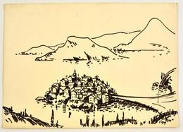 Vincze Győző (1925-2001): Dubrovnik, Tus, Papír, Jelzett, 41,5×58,5 Cm - Altre Collezioni