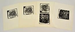 Jelzés Nélkül: 4 Db Linómetszet, Papír, 11×12 Cm (4×) - Altre Collezioni