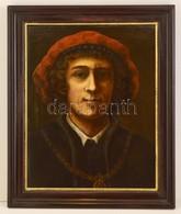 Cca 1850 Jelzés Nélkül: Reneszánsz Férfi Portré. Olaj, Karton, Keretben, 56×44 Cm - Altre Collezioni