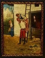 Olvashatatlan Jelzéssel: Mókázó Párocska 1892. Olaj, Falemez, Antik Keretben, 31×24 Cm - Altre Collezioni