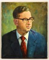 Olvashatatlan Jelzéssel: Szemüveges Férfi Portré. Olaj, Vászon, 60×50 Cm - Altre Collezioni