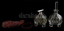 2 Db Parfümös üveg, Apró Lepattanásokkal, M: 20 Ill. 12 Cm - Glass & Crystal