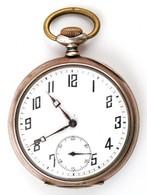 Art Deco Dupla Ezüst Fedeles Zsebóra, Aranyozott és Vésett Tokkal, Működő, Jó állapotban. / Silver Pocket Watch. Works W - Jewels & Clocks