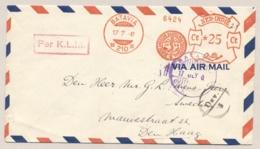 Nederlands Indie - 1947 - LP-cover Roodfrankering En Deviezencensuur Van Nederlands Gezag Type Z BATAVIA Naar Den Haag - Nederlands-Indië