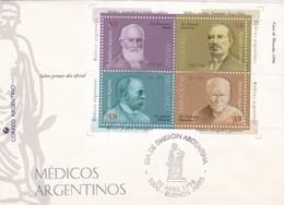 MEDICOS ARGENTINOS-FDC BUENOS AIRES 1996 BLOCK STAMP -BLEUP - Medicina