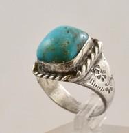 Ezüst(Ag) Gyűrű Türkiz Kővel, Jelzés Nélkül, Méret: 56, Bruttó: 9,1 G - Jewels & Clocks