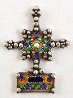 Marokkói Dél-Csillaga Ezüst Medál Színes, Rekeszzománc Díszítéssel. Kézműves Munka. 9 Cm, 51g / Silver South Star Medal. - Jewels & Clocks