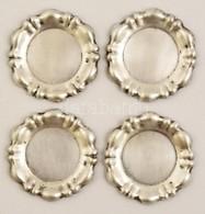 4 Db Jelzett Ezüst Poháralátét D:7,5 Cm, 70g / Silver Glass Mats - Jewels & Clocks