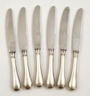 6 Db Fémjelzett és Mesterjelzett Ezüstnyelű Kés, Solingen Pengével / Silver Knives. Br. 682 G - Jewels & Clocks
