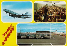 Helsinki Finland Airport, Plane Interior View, Finnair Jet Plane, C1970s/80 Vintage Postcard - Aerodromes