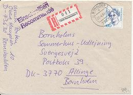 Germany Registered Cover Sent To Bornholm Denmark Remshalden 22-4-1991 Single Franked - [7] Federal Republic