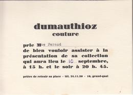 Invitation  à La Présentation De La Collection  De DUMAUTHIOZ Couture - Fashion