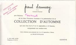 """Invitation  à La Collection D'Automne  """" Paul Danay""""  GENÈVE - Fashion"""