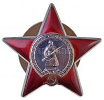 Szovjetunió 1930-1991. 'Vörös Csillag Érdemrend' Zománcozott Ag Kitüntetés Csavaros Hátlappal, Sorszám A Hátoldalán T:2  - Coins & Banknotes