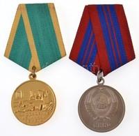 Szovjetunió 1950-1991. 'Közrend Védelmében Tett Szolgálatokért Érem' Ezüstözött Fém Kitüntetés Mellszalagon + 1956-1991. - Coins & Banknotes