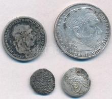 4db-os Vegyes Magyar és Külföldi Rossz Tartású, Sérült Ezüstpénz Tétel T:3,3- Ly.  4pcs Of Various Silver Coins In Bad C - Coins & Banknotes