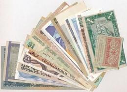 18db-os Vegyes Bankjegy Tétel, Közte Magyarország, Bahamák, Jordánia, Venezuela, Mongólia, Indonézia, Jugoszlávia, NDK é - Coins & Banknotes