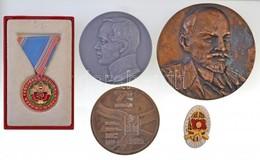 5db-os Vegyes Plakett és Kitüntetés Tétel, Külföldi és Magyar Darabokkal, Közte 'Lenin' Br Plakett T:2 - Coins & Banknotes