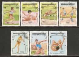 Cambodia 1984 Mi# 568-574 Used - Summer Olympic Games, Los Angeles - Cambodia