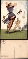 CARTOLINE - AVIAZIONE - Arma Aeronautica - Ragazza E Campo D'aviazione (N.027) - Illustratore Burattin - Nuova FG (20) - Stamps