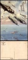 """CARTOLINE - AVIAZIONE - Arma Aeronautica - S.79 Che Bombardano Navi, Torri Di Bologna In Alto A Destra """"Ala Altius Alere - Stamps"""