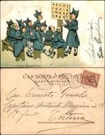 CARTOLINE - MILITARI/UMORISTICHE - Scuole Reggimentali - Cartolina Illustrata - Viaggiata 1902 - Stamps