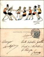CARTOLINE - MILITARI/UMORISTICHE - Tiro Alla Fune - Cartolina Illustrata - Viaggiata 1914 - Piega Verticale A Sinistra - Stamps