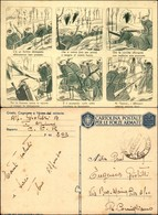 """CARTOLINE - FRANCHIGIA MILITARE - 1942 - Fumettistica """"C'è Un Fortino"""" (F73-3) - Viaggiata P.M. 203 8.10.42 - Stamps"""