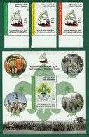 PALESTINE 2014 - CENTENNIAL Of PALESTINIAN SCOUTS M/S + 3v Full Set MNH ** - Scouting Flag, Scout - As Scan - Palestine