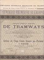 Th 1TRAMWAYS : Cie Générale Française - Action De 500 Frs1907  (N=7) - Actions & Titres